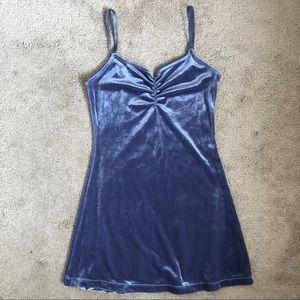 Morbid Threads Blue Shiny Velvet Mini Slip Dress
